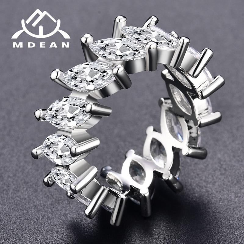حلقه های رنگ طلای سفید MDEAN برای زنان AAA زیرکون نامزدی حلقه عروسی زنانه حلقه Vintage لوازم جانبی مد Bague MSR242