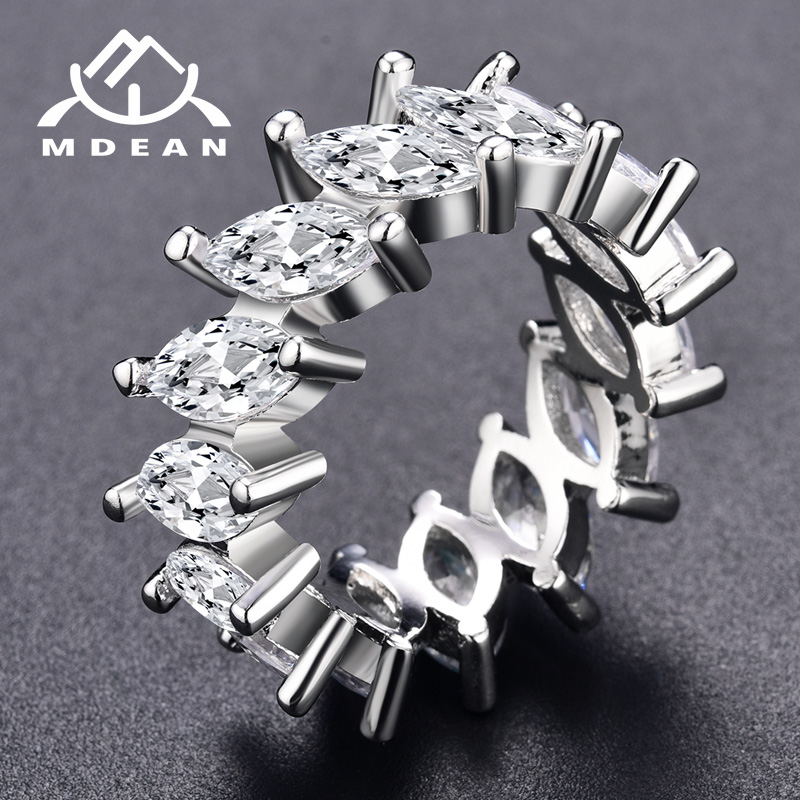 MDEAN Weißgold Farbringe für Frauen AAA Zirkon Verlobung Frauen Ehering Vintage Ring Modeaccessoires Bague MSR242