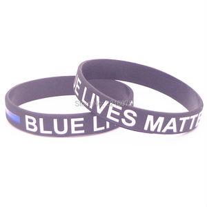 Image 1 - 300pcs White Black Blue Lives Matter Thin Blue Line wristband silicone bracelets free shipping by DHL express