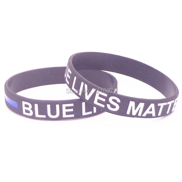 300pcs White Black Blue Lives Matter Thin Blue Line wristband silicone bracelets free shipping by DHL express