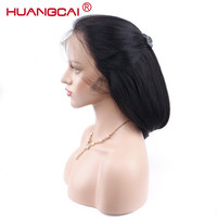 360 Lace frontal Wigs Peruvian Straight Remy Human Hair Wigs With Baby Hair Natural Black Color 130% Density 10 to 24inch