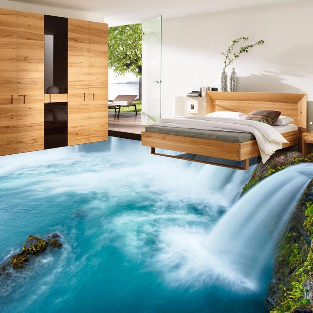 Free Shipping Vogue Creative Waterfalls 3D Flooring Background Painting Self-adhesive Wear Floor Wallpaper Mural
