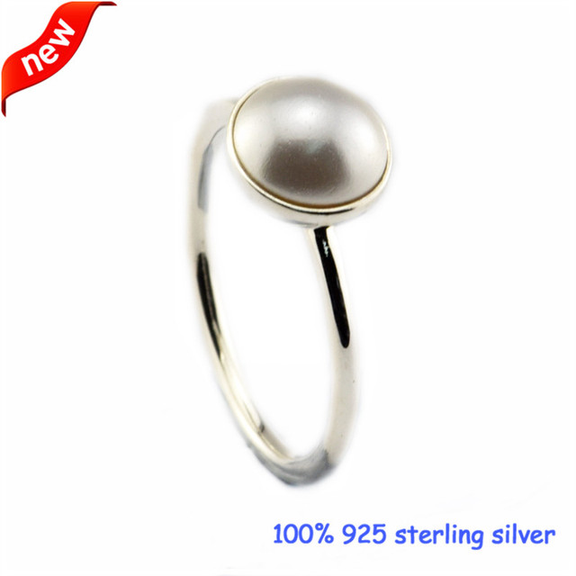 White Crystal Pearl Silver Ring