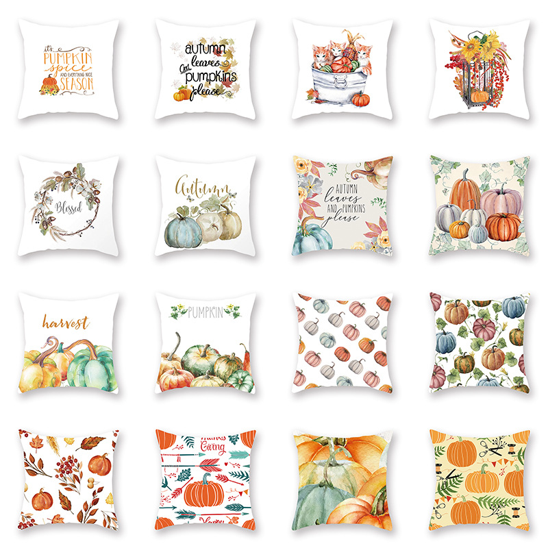 Halloween Thanksgiving Pumpkin Decorative Cushion Cover Letter Yellow  Watercolor Hand-painted Printed Couch Throw Pillows Cases