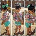 Розничные Новые 2015 Девушки клетчатую рубашку + зеленые шорты 2 шт. набор дети мода футболка с длинным рукавом одежда Детская повседневная одежда 1 компл.