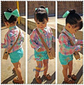 Retail Nuevas 2015 Muchachas camisa a cuadros + pantalones cortos verdes 2 unids conjunto niños moda de manga larga camiseta ropa de Niños ropa casual 1 Unidades