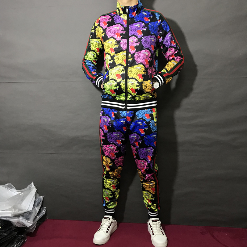 Hot 2019 nouveau printemps et automne costume Hip Hop col montant Sweatshirts et pantalons de survêtement hommes deux pièces ensemble à manches longues vêtements M-3XL