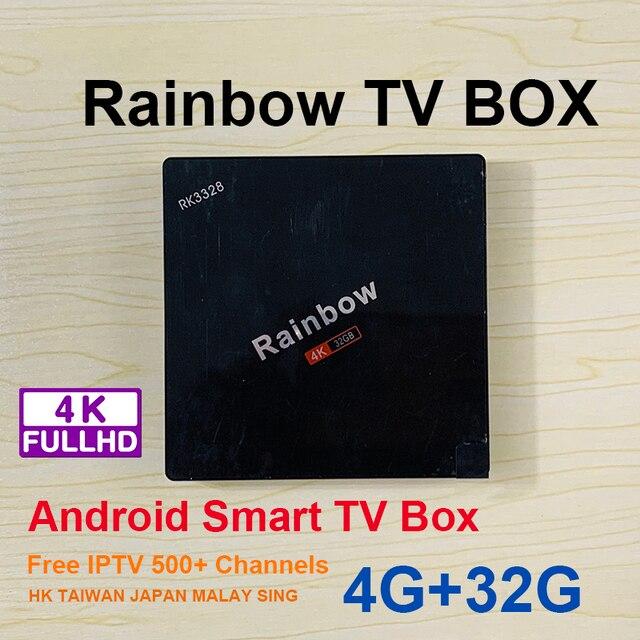 UNBLOCK TECH Rainbow tvbox Free IPTV TVBOX Bluetooth Android TV Box 8 Core  Live channel