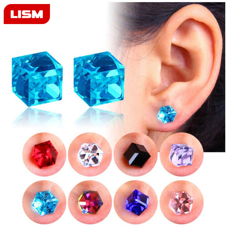 1 Pair Unisex Non Piercing Clip on Magnetic Magnet Crystal Square Cubic Zircon CZ Ear Stud Earrings