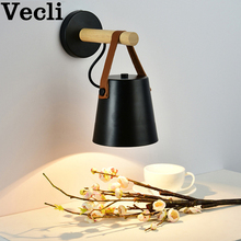 Modern nordic macaron bedroom aisle corridor solid wood belt bedside wall lamp e27 wandlamp bra lampara pared interior sconce