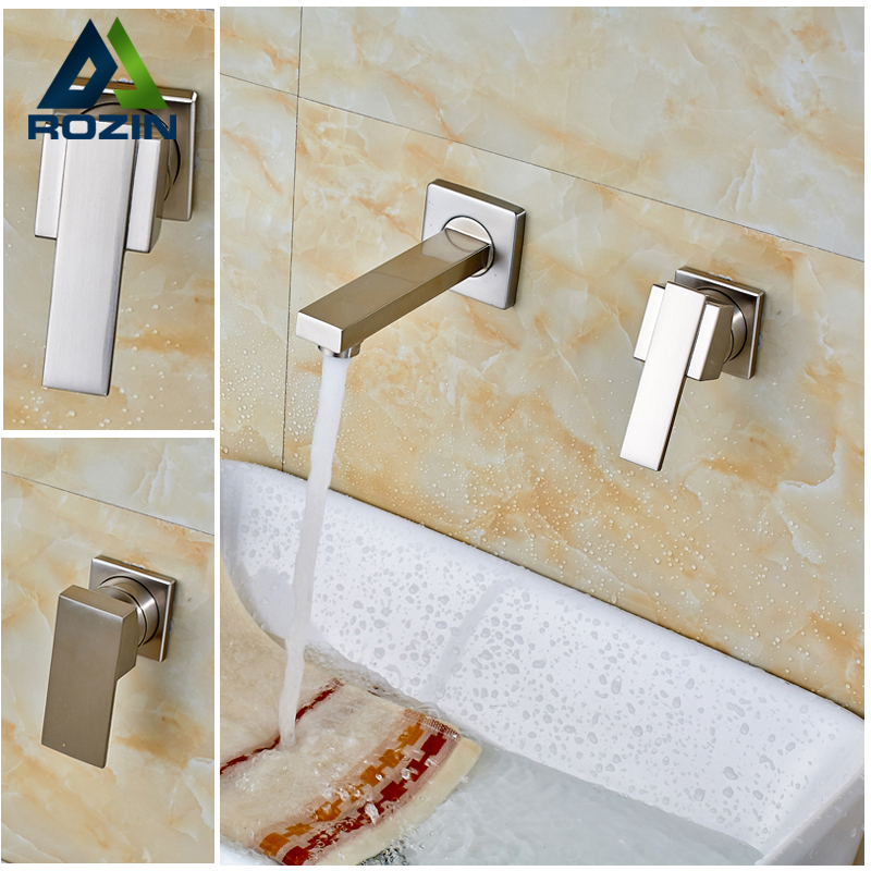 Wall Mounted Bathroom Mixer Taps Free Shipping Hot and Cold Washing Basin Water Sink Faucet Two Hole One Handle