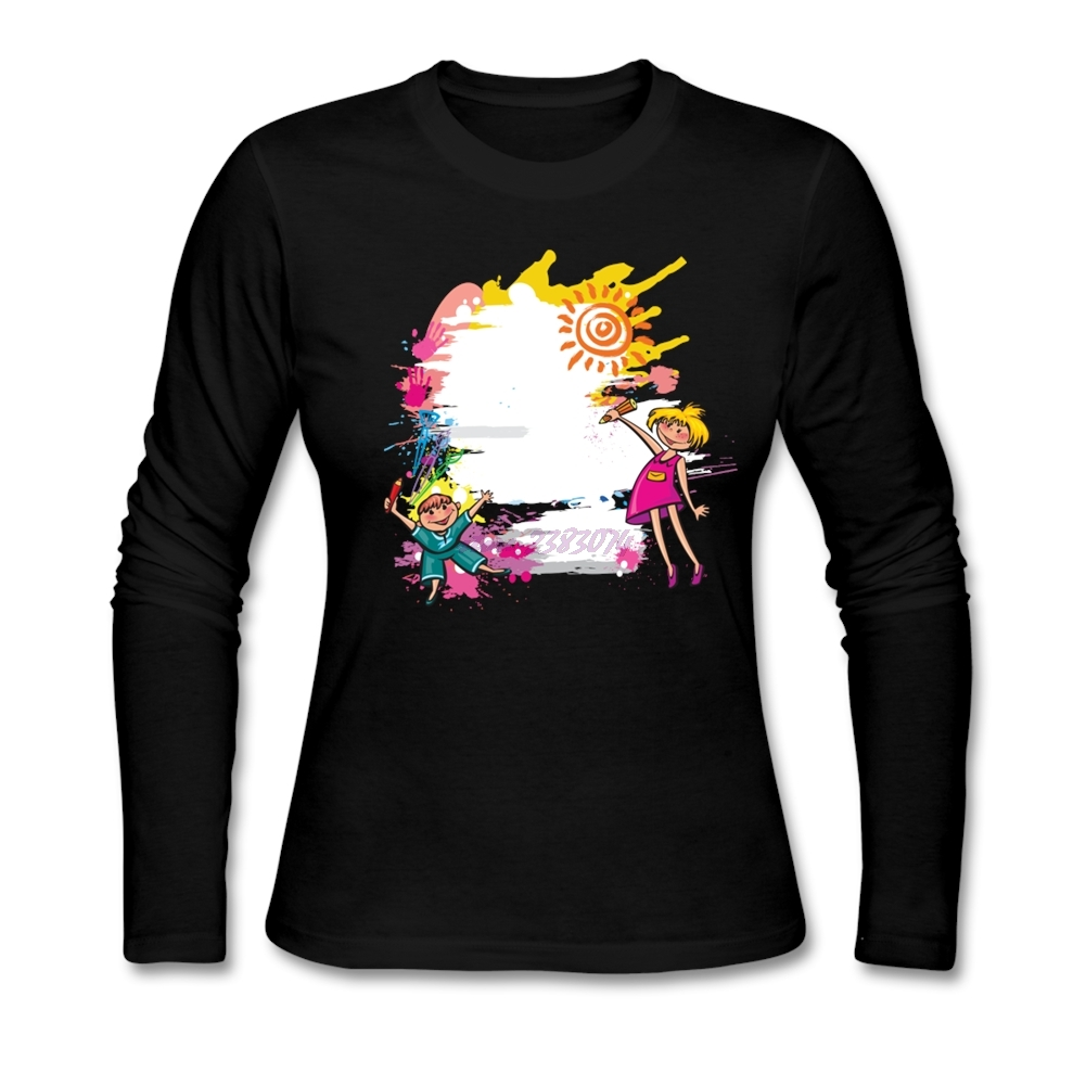Design your t shirt for free - Fantastic Woman Cotton Crewneck T Shirts Cute Kid Painting Women Full Sleeves Design Your Own