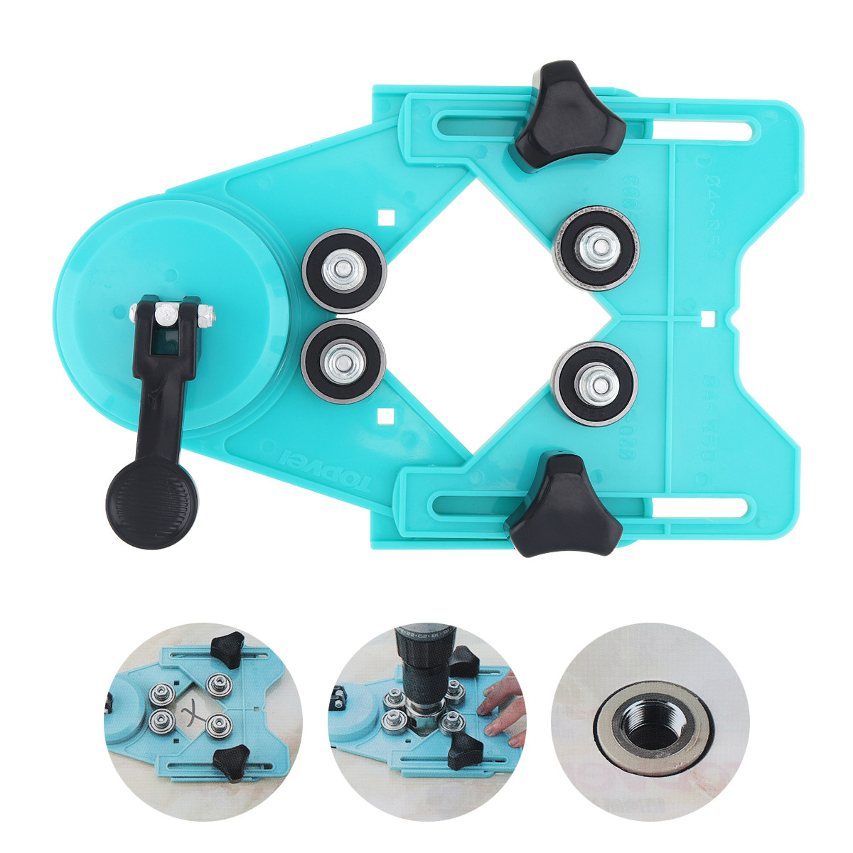Portable Adjustable Engineering Plastic Tile Hole Locator With Rubber Suction Cup 4-83mm Clamping Range For Glass Tile Openings