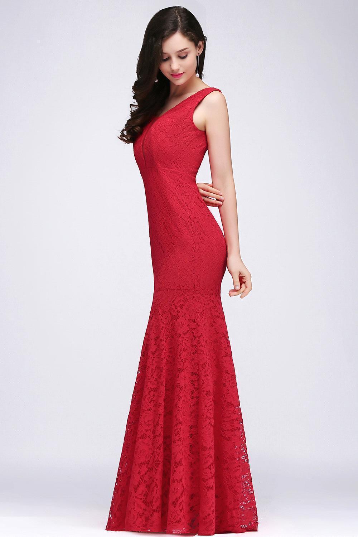 7a18c2e8433 Babyonline красный гипюр юбка-годе 2018 Платья вечерние Sexy v-образным  вырезом Формальные Вечерние платья Длинные Платья для вечеринок vestido de  festa
