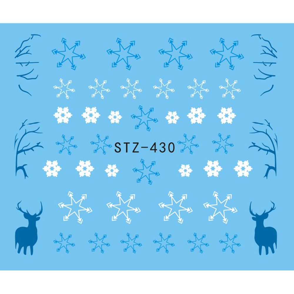 1 Sheet Water Nail Sticker Christmas Design Temporary Tattoos Elk/Snow Flowers/Owl Pattern Transfer Beauty Nail Art TRSTZ429-439 2