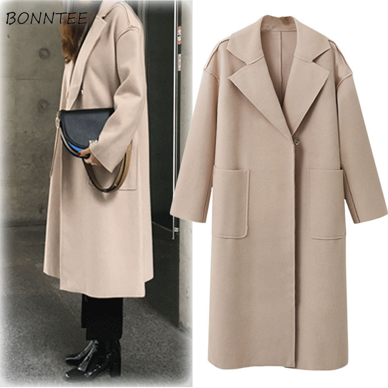 Trench   Women Solid Simple Loose Turn-down Collar Single Button Pockets Long Womens Elegant European Style All-match Chic Leisure