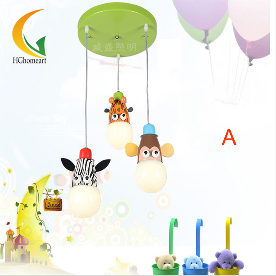 Children 39 s room 3 head pendant lamp animal cartoon led for Hanging lights for kids room