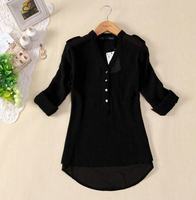 De Blusas Solapa Camisa Para Cuello Mujer Moda Unid 1 Gasa B1w0qIX0