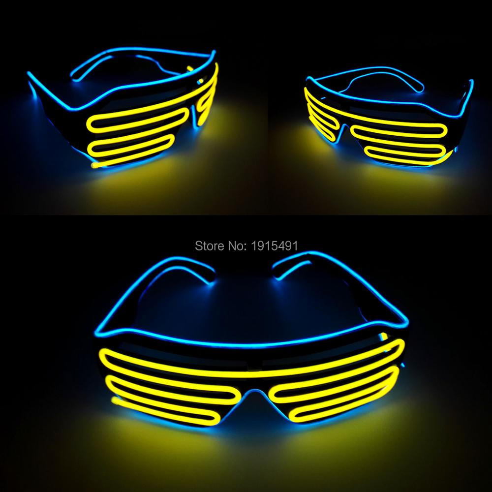 Nueva llegada Home Party Gift Light up Shutter Gafas de iluminación navideña Crazy Christmas decor Neon Led Eyewear con DC-3V Inversor