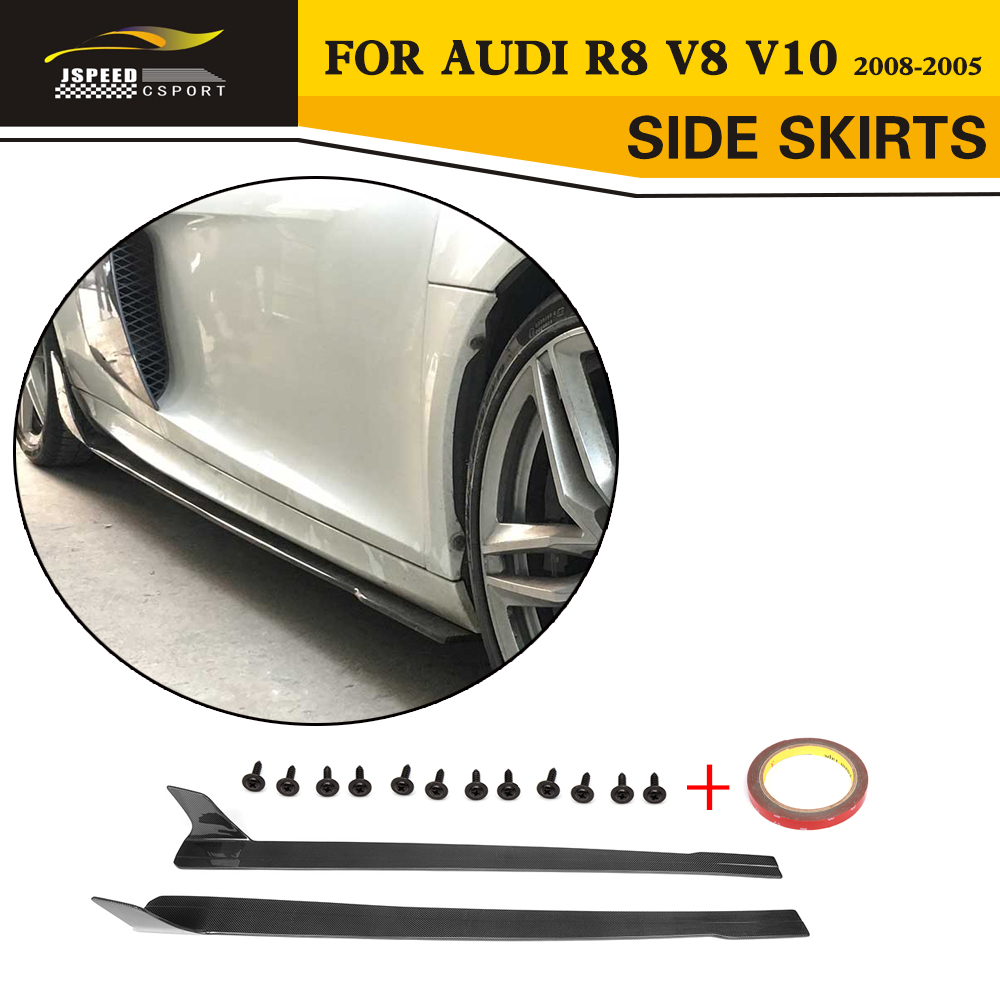 Carbon Fiber Racing Car Side Skirts Body Lip Apron Styling For Audi R8 V8 V10 2008-2015 carbon fiber nism style hood lip bonnet lip attachement valance accessories parts for nissan skyline r32 gtr gts