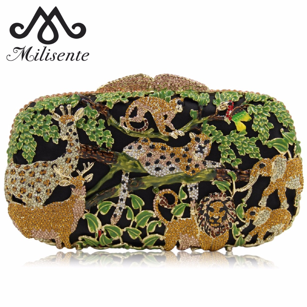 Milisente Women Luxury Crystal Clutch Evening Bags Animal Zoo Clutches Bag Hollow Out Party Wholesale Green Purse milisente high quality luxury crystal evening bag women wedding purses lady party clutch handbag green blue gold white