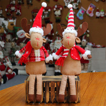 Christmas Elk Plush Dolls Toys Cute Elf Reindeer Peluche Doll Xmas Festival Tree Party Room Shop Home Decor 5pcs/lot 36cm