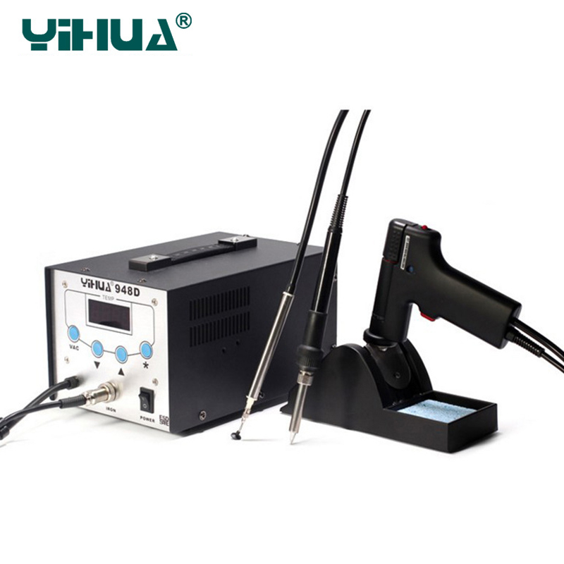 YIHUA948D upgrade version 3 in 1 BGA Desoldering Station Electric Vacuum Desoldering Pump Solder Sucker Gun +Soldering Station