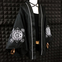 Harajuku Kimono Blouse Stars Moon Magic Circle Embroidery Darkness Cardigan Shirts Girls Women Japanese Loose Gothic Blouses