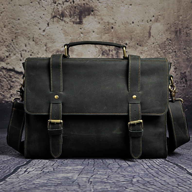купить Crazy Horse Genuine Leather Men 's Briefcase High Quality & Large Capacity Messenge Shoulder Bag Fashion Men Business Briefcase по цене 6331.93 рублей