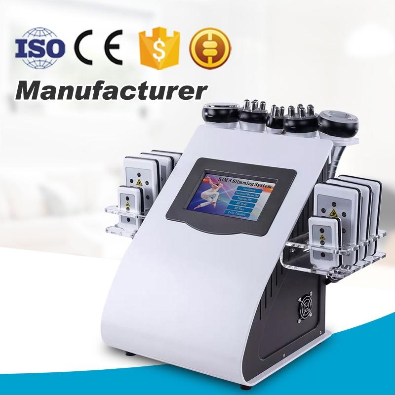 Новое поступление 2019 года! 6 в 1 40 K ультразвуковая кавитация вакуум радиочастотный лазер 8 колодки lipo лазерная машина для похудения для домаш
