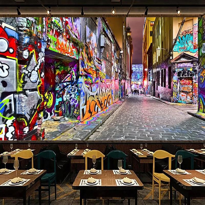 Custom 3D Photo Wallpaper Murals Street Graffiti Personality Art Wall Painting 3D Stereoscopic Expansion Space Bar Decor Mural