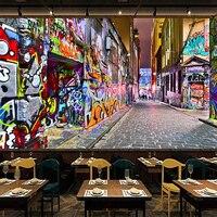 Personalizado 3d foto papel de parede murais rua graffiti personalidade arte pintura 3d estereoscópico expansão espaço barra decoração mural