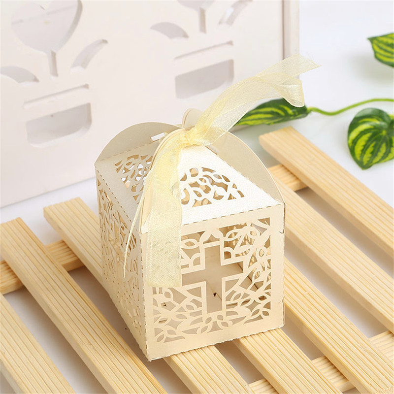 50pcs Jesus Christian Cross Laser Cut Candy Boxes With Ribbon