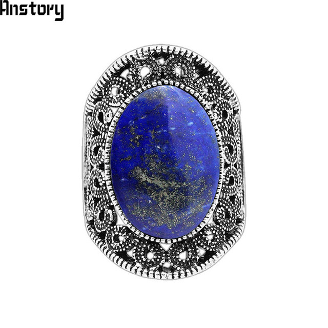 Oval Lapis Lazuli Rings For Women Natural Stone Flower Rings Vintage Antique Sil
