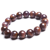 13mm Natural Genuine Purple Golden Titanium Cacoxenite Round Beads Jewelry Stretch Charm Bracelet Free Shipping