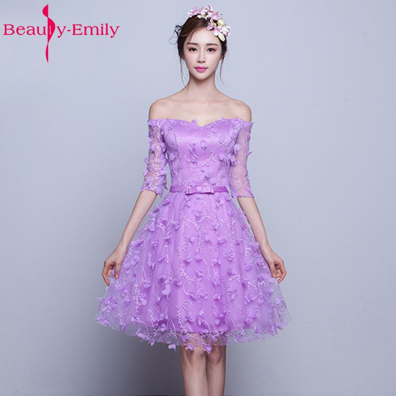 Beauty-Emily Purple Pink Half Sleeve Flowers Tulle Purple Bridesmaid Dresses 2017 Party Prom Dress Homecoming Dresses