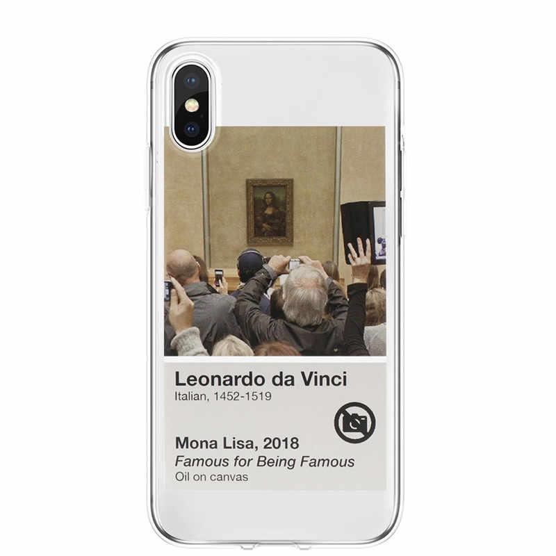 W mediach społecznościowych poważnie szkodzi swoje zdrowie psychiczne telefon etui dla iphone'a x XR XS MAX 5S SE 6 6S 7 8 Plus śmieszne Mona Lisa miękkie etui