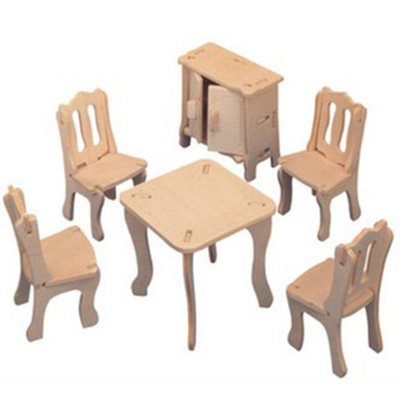 Hot Arrival 1 Set Creative Wooden DIY 3D Simulation Dining Room Construction Kit Puzzle Toy Kids Gift Simulation Furniture Toy