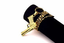 Brand new Hip Hop Gold Plated Men women Jewelry fashion gun Pendant Statement Necklace rock Chain Necklaces &Pendants for unisex