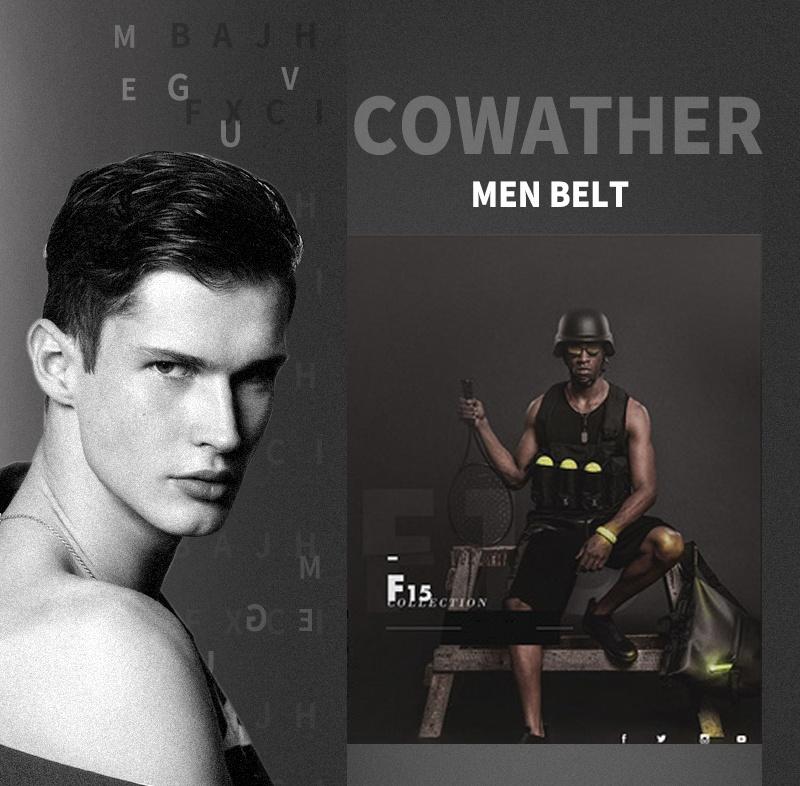 حزام COWATHER جلد طبيعي للرجال 5