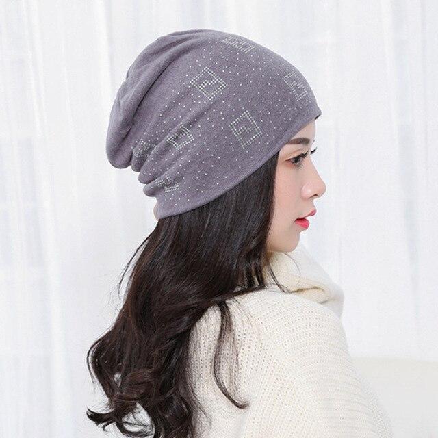 9e451ba465d 2018 Beanie Hats for Women Beanies Autumn and Winter Brand Knitted Hat  Turban Diamond Skullies Hip-hop Caps Stocking Ladies Lnit