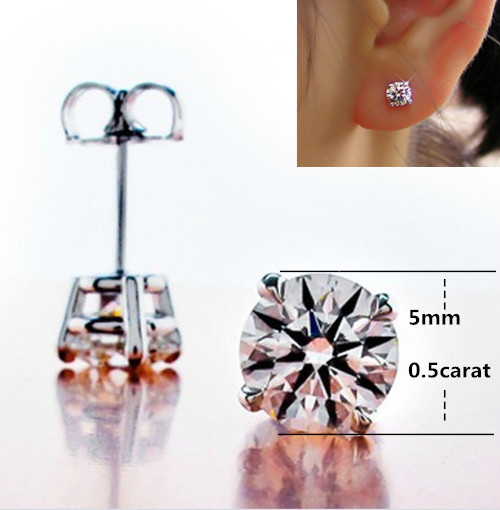 Trendy 1Ct piece SONA Synthetic Diamonds Stud Earrings for Women Engagement Top Quality 925 Sterling Silver
