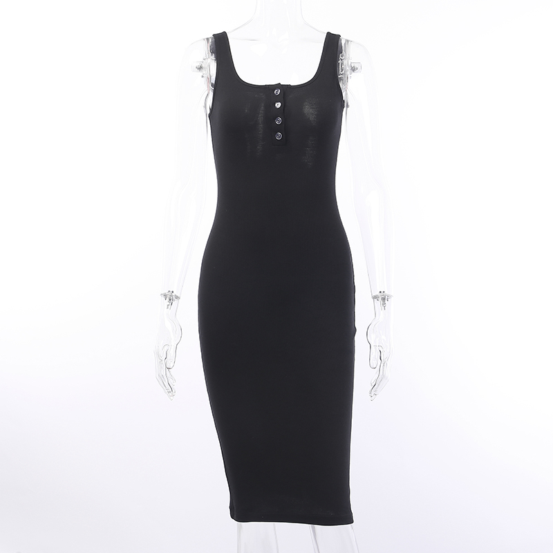 V-Neck Knitted Elastic Sleeveless Button Knee-Length Bodycon Dress 4