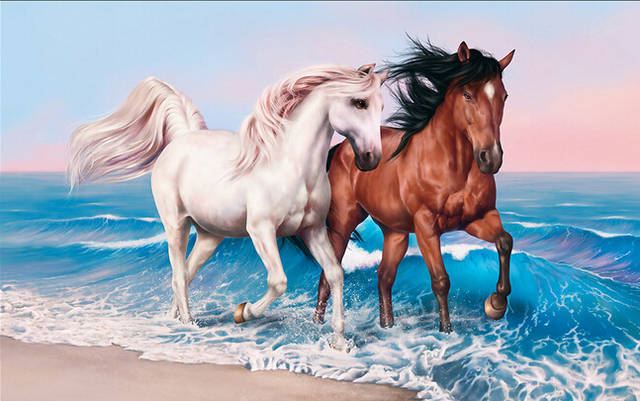 Online Shop Custom 3d Horse Wallpaper Couples Steed Paintings For