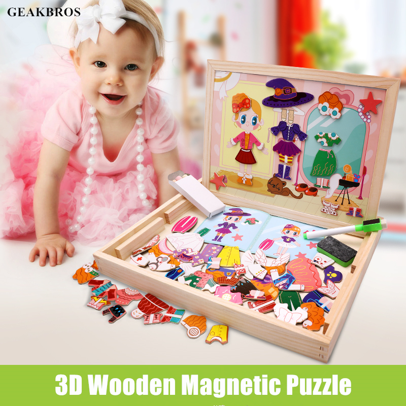 3D Jigsaw Wooden Puzzles for Girls Boys Toddlers Baby Educational Toys