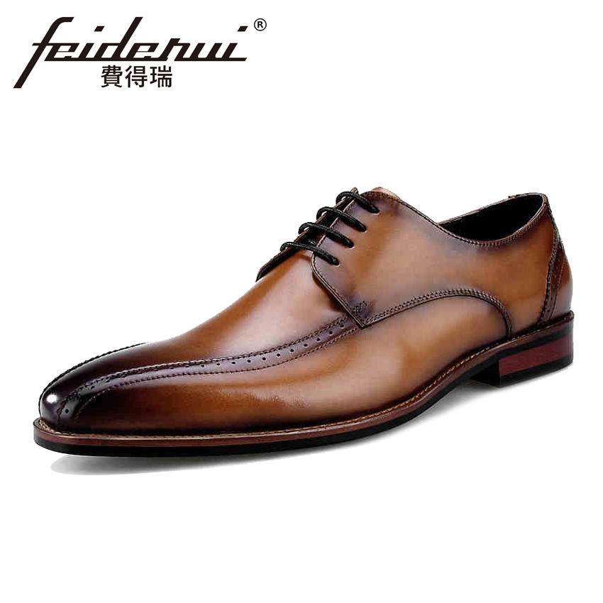 Luxury Genuine Leather Men's Handmade Oxfords Formal Dress Pointed Toe Man Brogue Flats Designer Male Wedding Party Shoes BQL77 british designer handmade genuine leather men s oxfords round toe man semi brogue flats formal dress wedding party shoes hqs101
