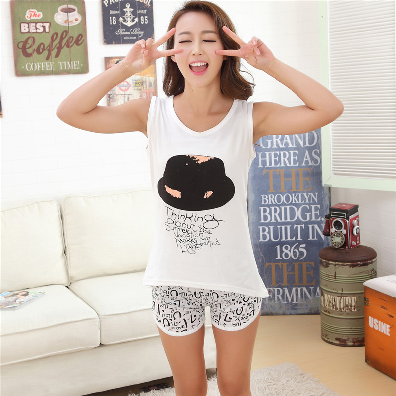 2017 Summer Women's Sleep Lounge Women Sleepwear Sleeveless Vests Shorts Pajama Sets Girls Pajama Nightgown Pijama suits women