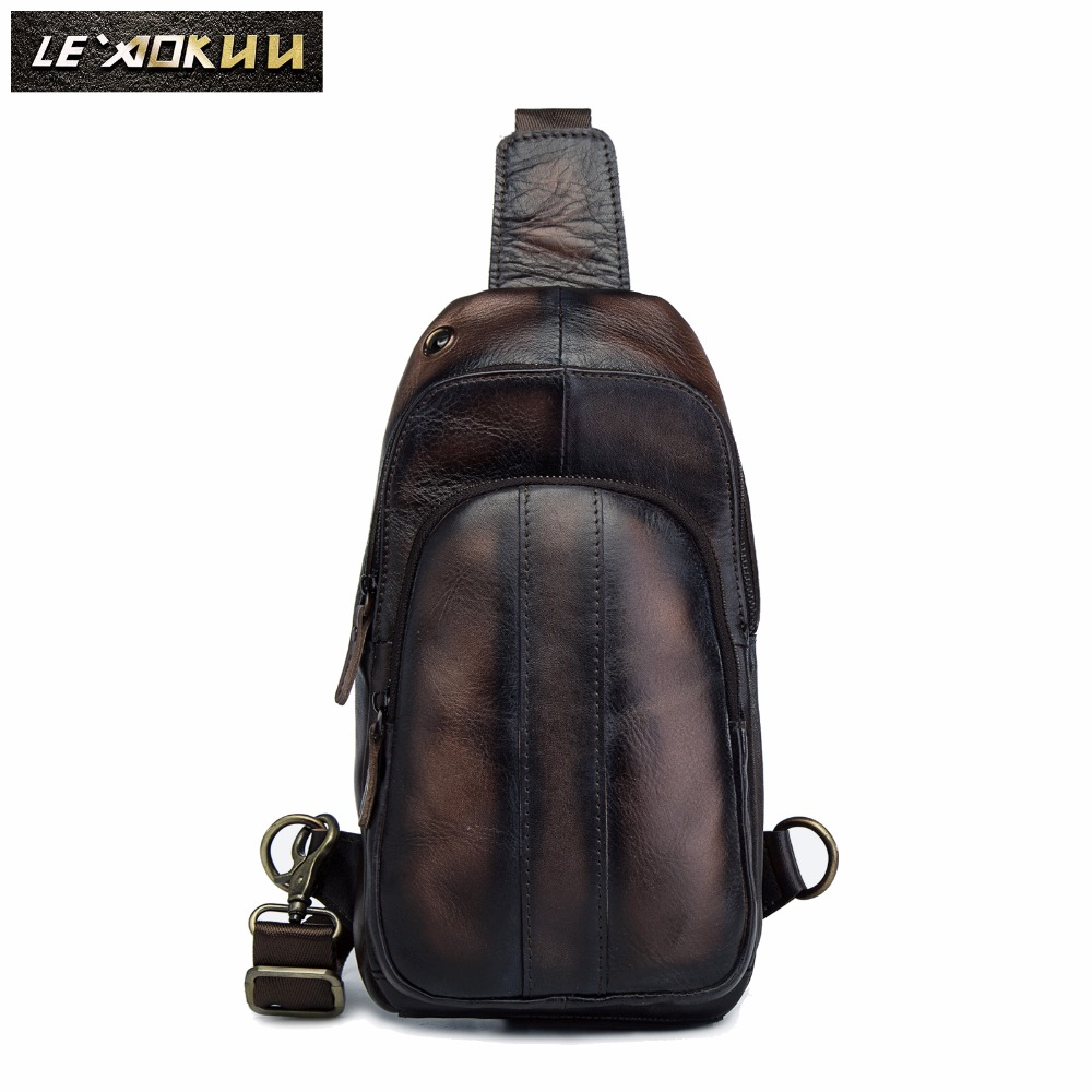 Men Crazy Horse Thick Leather Casual Fashion Chest Bag Sling Bag Design Travel One Shoulder Crossbody Bag Daypack Male 8006-db