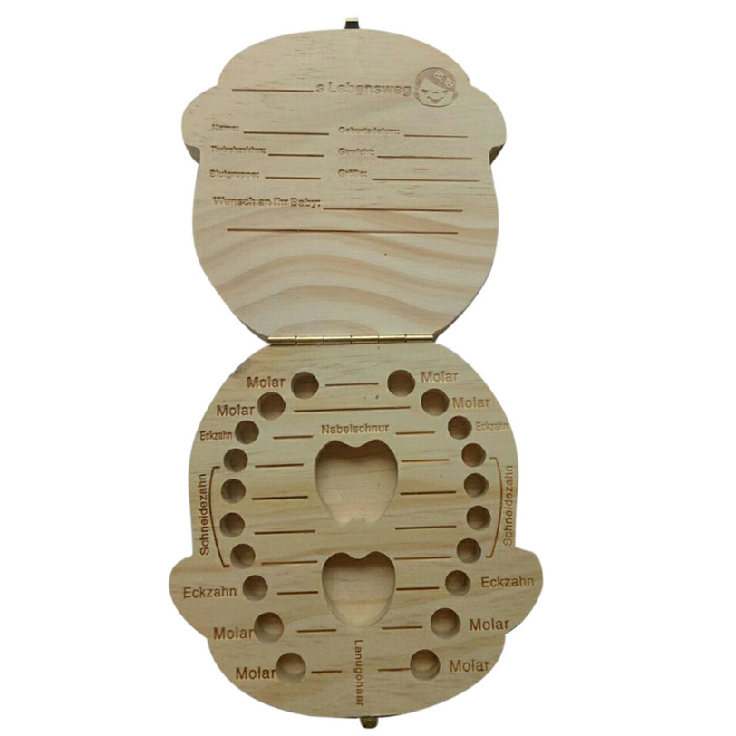 German language Tooth Box Organizer for Baby Milk Teeth Save Wood Storage Box for Kids Boy&Girl Jul3 Professional Drop Shipping
