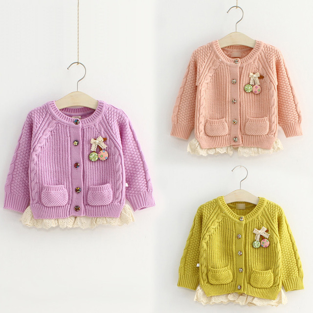 2018 Fall New 1-12Yrs Girls Fashion Bow Appliques Knitted Woollen Sweater Children Knitwear Kids Lace Spliced Knit Cardigan G713
